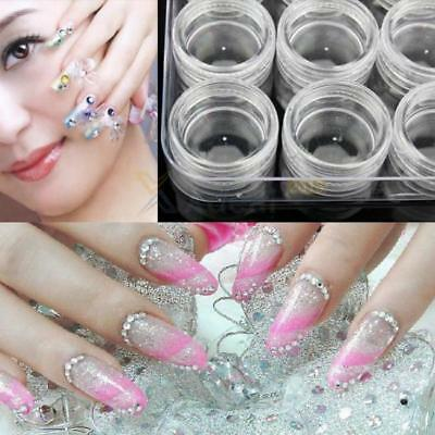 12 in 1 Nail Art Empty Storage Pots Clear Container For Nail Art Gems Beads 8C