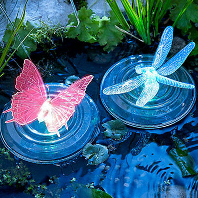 Floating Solar Power LED Dragonfly Pond Lamp Festival Decoration Colorful