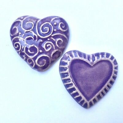 50mm Textured Ceramic Hearts - x2 - Purple ~ Ceramic Mosaic Tiles