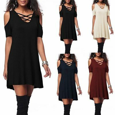 Fashion European Style Loose Dress Cross Sexy Off Shoulder Short Sleeved GV