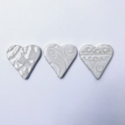 40mm Textured Ceramic Hearts x3 - White ~ Ceramic Mosaic Tiles