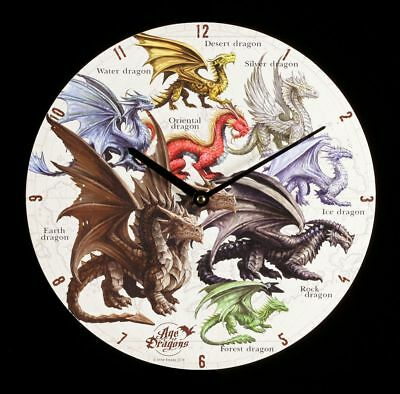 Wall Clock - Age of Dragons - the World - Anne Stokes Fantasy Watch Decor