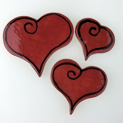 Funky Ceramic Hearts - small medium large ~ Ceramic Mosaic Tiles