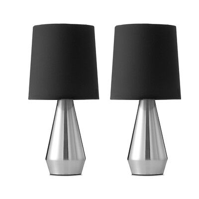 Set of 2 Modern Touch Table Desk Bedside Lamps Black Silver Home Decor