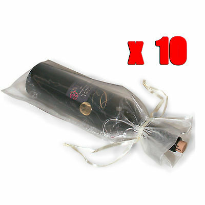 10 x Sheer Organza Wine Bottle Gift Bags Weddings Holidays Parties White
