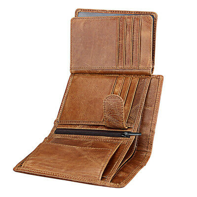 Genuine Leather Men Wallet Cowhide Anti RFID Vintage Card Holder Coin Purse
