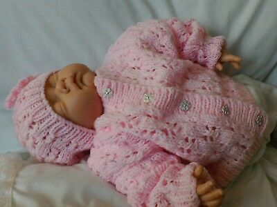 New. Hand Knitted Baby girls cardigan & Hat. Pink. 3-6 months