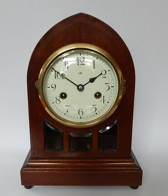 Stunning Gustav Becker Mahogany Striking Lancet Mantel clock 2790