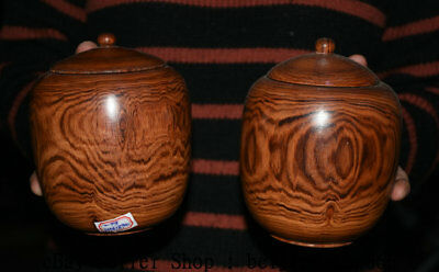 """5.6"""" Old Chinese Huanghuali Wood Hand Carved Dynasty Weiqi Jar Pot Crock Pair"""