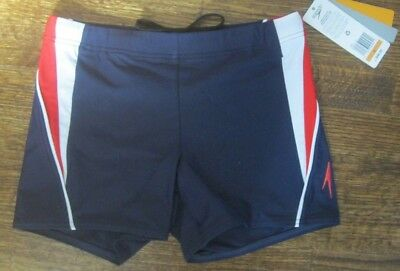 badbe30507 NWT Speedo Men's PowerFLEX Eco Fitness Splice Square Leg Swim Trunk S Navy