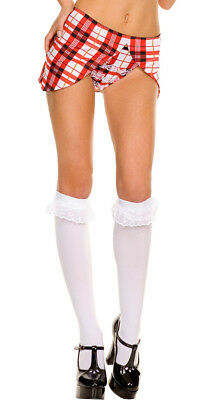 One Size Fits Most Womens Opaque Knee Highs With Ruffle Lace Trim, School Girl