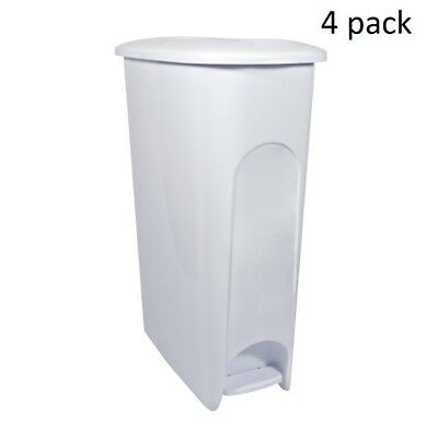 Hefty Slim Profile Plastic 10.8 Gallon Step On Trash Can Set of 4