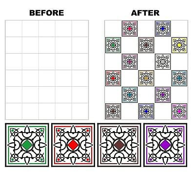 "Mosaic Pattern Stickers Transfers For 100mm  x 100mm & 4"" x 4"" inch Tiles GT46"