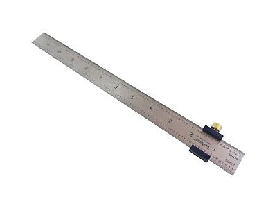 "Ruler Stop Fence with 12"" Machinist Rule Anodized Brass Knob Taytools 108880"