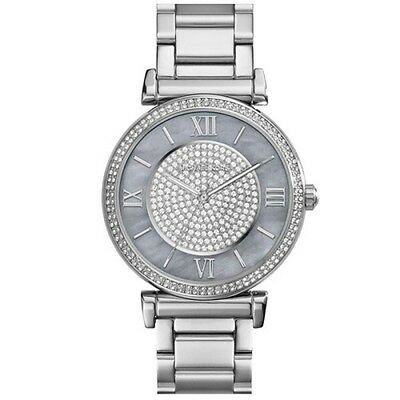 23337c9e2568 MICHAEL KORS WOMEN S MK3331 Caitlin Silver Crystal Pave Dial Watch ...