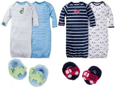 Gerber Baby Boy 6-Piece Dinosaur/Firetrucks Gown & Booties Bundle Set Size 0-6M
