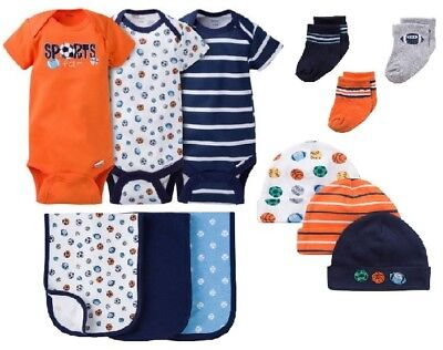 Gerber Baby Boy 12-Piece Sports Onesies,Caps,Socks,& Burp Cloths Bundle Set 0-3M
