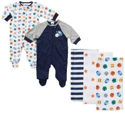 Gerber Baby Boy 5-Piece Sports Sleep N' Plays & Flannel Burp Cloths Bundle 0-3M