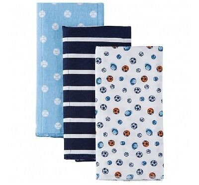 Gerber Baby Boy 3-Pack Blue Sports Flannel Burp Cloths; BABY CLOTHES SHOWER GIFT