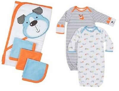 Gerber Baby Boy 6-Piece Puppies Lap Shoulder Gowns/Terry Bath Set Bundle 0-6M
