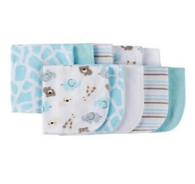 Gerber Baby Unisex 10-Pack Light Blue Safari Terry Washcloths; Baby Clothes Gift