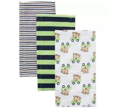 Gerber Baby Boy 3-Pack Monkey Flannel Burp Cloths; BABY CLOTHES SHOWER GIFT