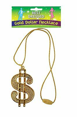 Gold Dollar Sign 70's Gangster Pimp Necklace Fancy Dress Big Daddy Stag Do Bling