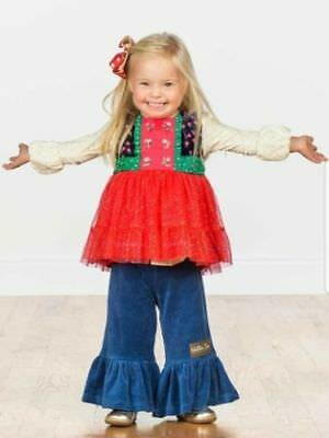 Matilda Jane CAROLING AWAY Top Girls Size 4 Sparkle Red Tulle Make Believe New