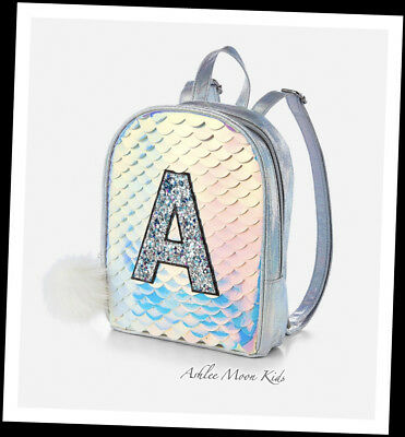 "NWT JUSTICE Girls Silver Mermaid Scale Initial A or B ""MINI"" Backpack"