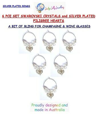 SET of 6 CRYSTAL with SILVER FILIGREE HEART CHARMS for CHAMPAGNE & WINE GLASS