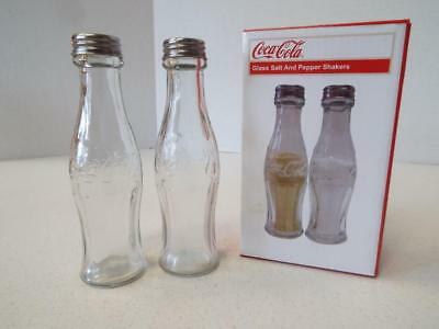 """New Coca-Cola Glass Salt And Pepper Shakers 5.5"""" Tall"""