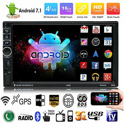 "Quad Core WiFi 3G 7"" 2 DIN Android 7.1 Car Stereo Radio MP3 MP5 Player GPS BT"