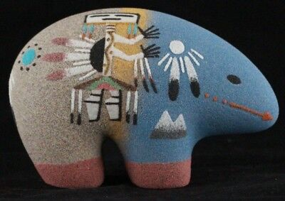 Navajo Made Bear Sand Painting Pottery Hand Painted by Original Navajo Artist