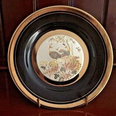 The Art Of Chokin Japanese Peacock Collectors Plate Gilded with Silver and Gold
