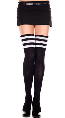 One Size Fits Most Womens Athletic Striped Thigh Highs, Striped Thigh High Socks