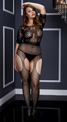 Queen Size Womens Plus Size Short Sleeve Fishnet Suspender Bodystocking, Plus