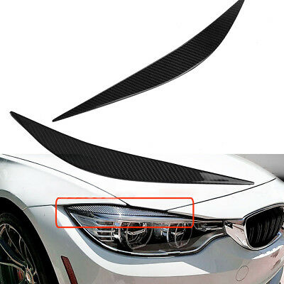 Carbon Fiber Headlight Eyebrows Eye Lid Cover For 12-17 BMW F32 F33 F36 4 Series