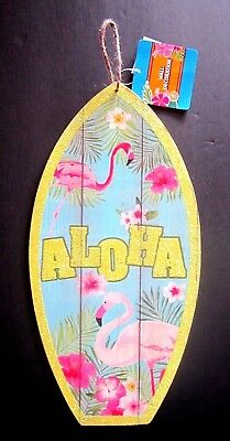 "ALOHA Pink Flamingo Wooden Luau 14"" x 7"" Sign W/ Green Glittery Letters NEW!"