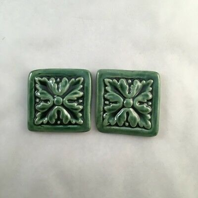 Ceramic Mosaic Inserts - 45mm Textured Tile x2 - Green ~ Ceramic Mosaic Tiles