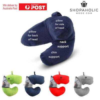Ultimate Travel J Pillow Neck Flight Shape Head Chin Support