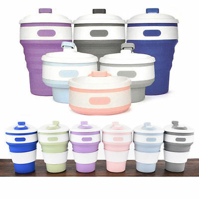 Collapsible Silicone Coffee Cup Mug Reusable Travel Foldable Leak Proof 350ML