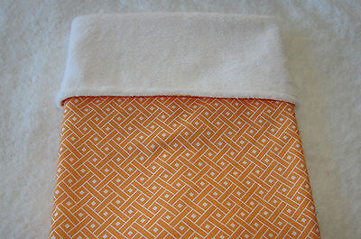 Orange & White Pattern Cotton Top White Minkee Bassinet Crib Blanket Handmade