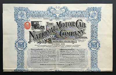 The National Motor Cab Company Limited. 1911 Historical Stock (Aktie)