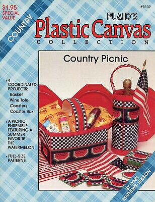 Country Picnic ~ Watermelon Basket Coasters Wine Caddy plastic canvas patterns
