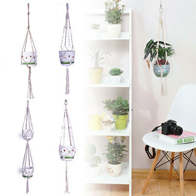 Jute Rope Braided Craft Pot Holder Macrame Plant Hanger Hanging Planter Ba F0280