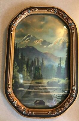 "Antique Vintage Hand Carved? Wooden Picture Frame 12""x18"" Teal Gold  Bubble glas"