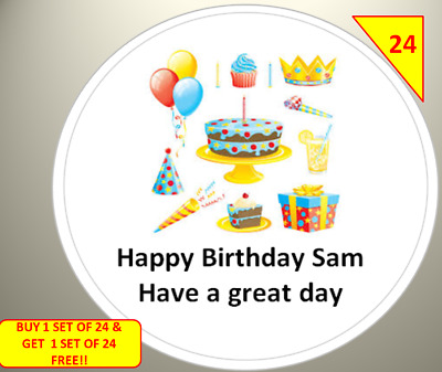 48 Personalised Birthday Job Celebration Party Label Stickers Sweet Cone Goodies