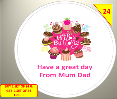 48 Personalised Happy Birthday Celebration  Party Label Stickers Sweet Cone