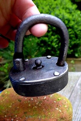 Antique Padlock Lock Made By Blacksmiths Unique Design No key Collector 29-05