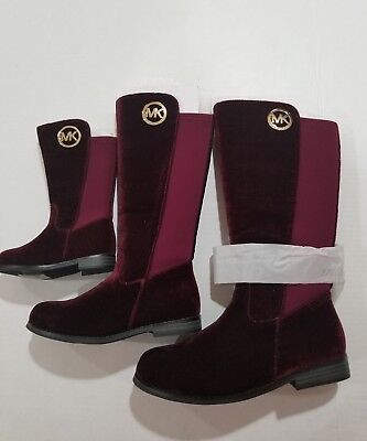 MICHAEL KORS EMMA LILY -T TODDLER/BABY PLUM (burgandy) SUEDE BOOTS GIRLS SIZE 12